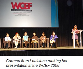 Carmen from Louisiana making her presentation at the WCEF 2008