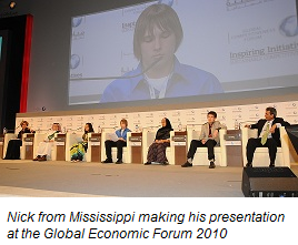 Nick from Mississippi making his presentation at the Global Economic Forum 2010