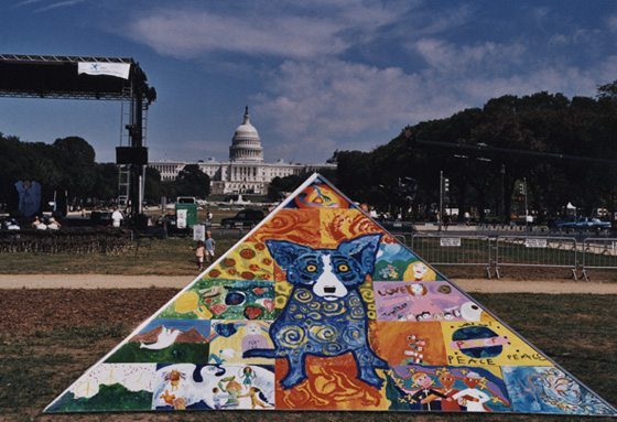 Art for Peace Pyramid co-created by children with artist George Rodrigue - WCF 2003